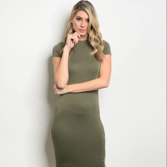 00ab317f6b48 Olive Bodycon Dress W  Mock Neckline